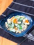 スナップえんどうとブロッコリーとゆで卵のマスタードマヨサラダ