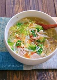 『とろみが美味しい!もやしとレタスと豚肉の旨塩たまごスープ』