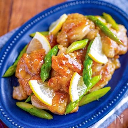 【鶏肉とアスパラの塩レモンバター炒め】コク旨バター風味♡