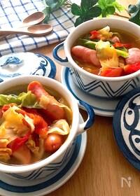 『具をいれるだけ♡ソーセージとキャベツのコンソメトマトスープ』