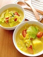 具沢山あったかスープ♡お野菜とソーセージのカレー豆乳スープ