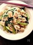 高野豆腐と小松菜の焼きうどん