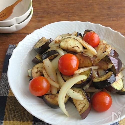 なす&たまねぎ&トマトのオリーブオイルソテー