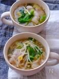 春キャベツと豚バラもやしの旨だしごま味噌スープ