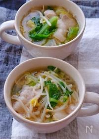 『春キャベツと豚バラもやしの旨だしごま味噌スープ』