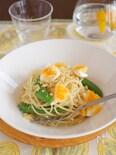 卵とスナップえんどうのパスタ
