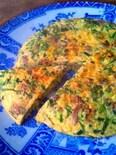 九条ネギと牛こま生姜煮のオムレツ