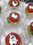 簡単オードブル フルーツトマトとサーモンアボカドタルタル