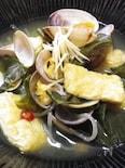 ◆アサリ・油揚げ・青菜のコンニャクスープ麺◆具沢山の低糖質