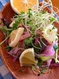ドレッシングがいらない、日向夏とスプラウのサラダ。