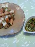 【とちぎのニラで】ニラと長芋の豚バラまき・ニラソース添え