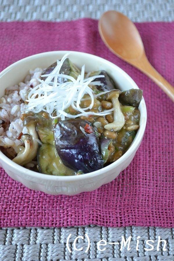 5.麻婆茄子の納豆丼