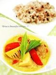 雑穀米の豆乳グリーンカレー。