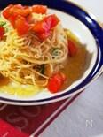 素麺で冷製パスタ、トマトと大葉の和風カッペリーニ