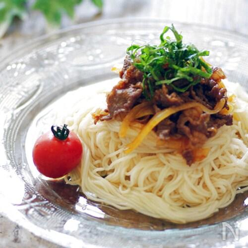スタミナ満点!ピリ辛牛のぶっかけ素麺☆