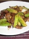 シャキシャキアスパラと牛肉の甘辛味噌炒め