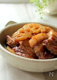 『フライパンで簡単☆豚バラとレンコンの照り煮』