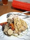 ルクエで作る鶏モモ肉とキノコのバジルトマト風味