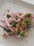 大豆とレッドオニオンとインゲンのサラダ