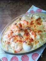 里芋とエビの豆乳味噌グラタン