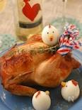 鶏玉子と丸鶏のグリル○黒米トマトリゾット&モッツァレラ詰め○
