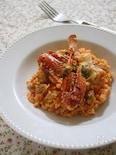 渡り蟹とあさりのトマト麦リゾット