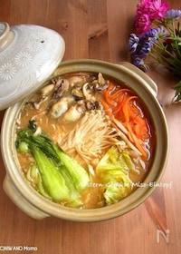 『牡蠣とたっぷり野菜の土手鍋風』