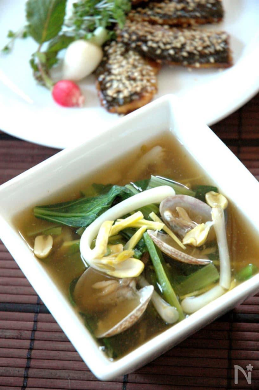 小松菜ともやしとあさりのとろみ生姜スープ