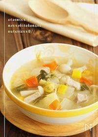 『簡単塩豚とコロコロ野菜のスープ』