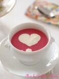 可愛いピンク ビーツのポタージュ