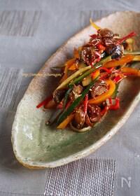 『つぶ貝ととしゃきしゃき野菜のピリ辛和え』
