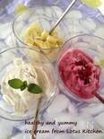 卵、乳製品なしのバニラ豆乳アイスクリーム