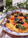 アイオリソースで食べるオリーブとサーモンのソーメンピッツァ