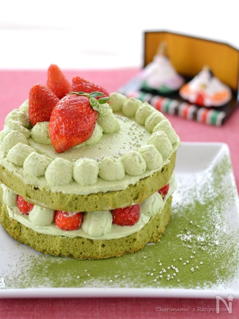 抹茶といちごのショートケーキ