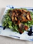 叩き牛蒡とアジの照焼き 春菊サラダで