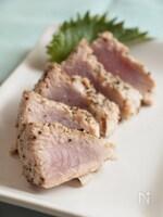 マグロのレアステーキ 黒胡椒&塩糀風味