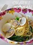 ハマグリと菜の花のタラコスパゲッティー