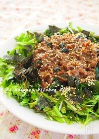 『スピードレシピ!春菊とワカメの焼肉サラダ』