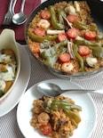 シーフードと挽肉のカレーパエリア