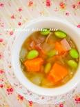 煮るだけ10分!甘〜いカボチャと枝豆のスープ