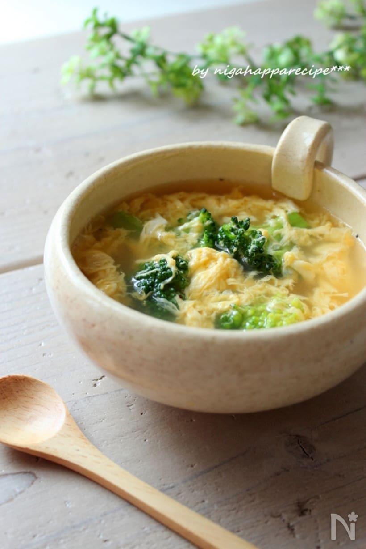 ブロッコリーと卵のコンソメスープ