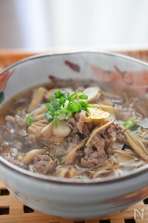 1. 牛きのこ蕎麦