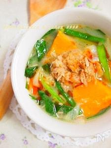 冷えと美肌に。簡単!ツナとかぼちゃの坦々スープ