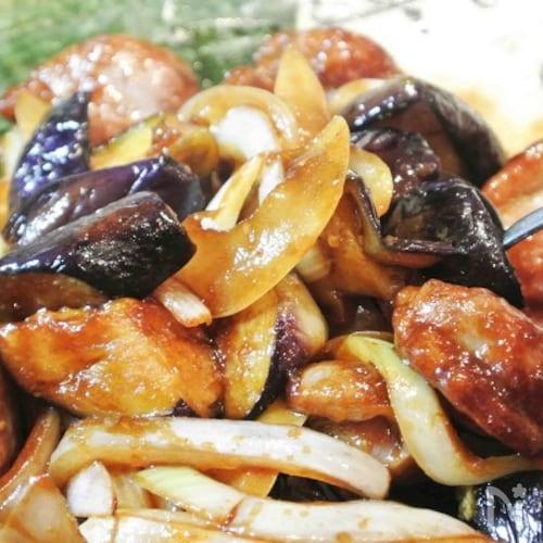 砂肝と茄子のピリ辛オイスターソース炒め