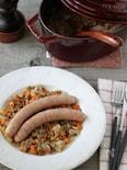 ソーセージとレンズ豆の煮込み