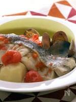 あさりと白身魚のレモン蒸し