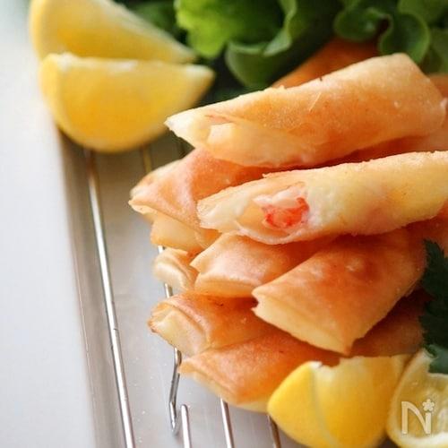 海老とチーズのスティック春巻き。柚子こしょう風味。