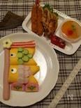 こどもの日ちらし寿司で鯉のぼりプレート
