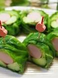 梅しそ風味魚肉ソーセージときゅうりの春キャベツのクルクル巻き