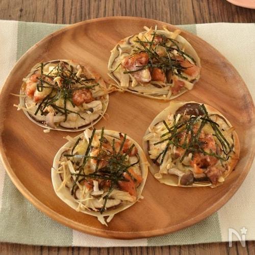 【缶詰レシピ】鶏ときのこの和風ミニピザ
